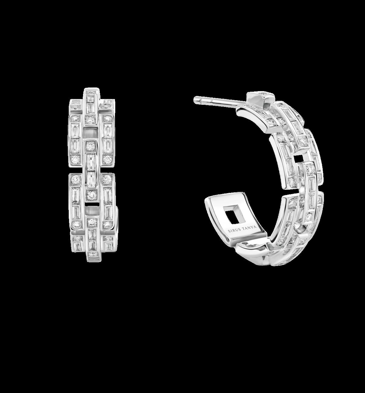 Sirus Chain Diamond Hoop Earrings